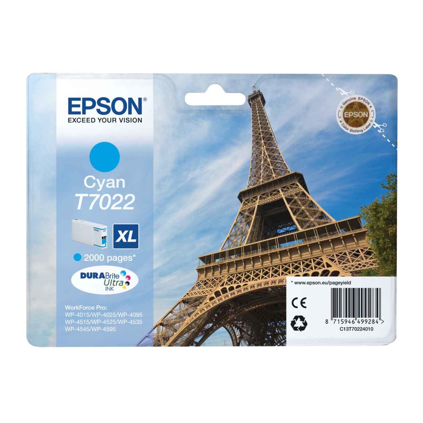 Epson T7022 XL Ink Cartridge - Cyan