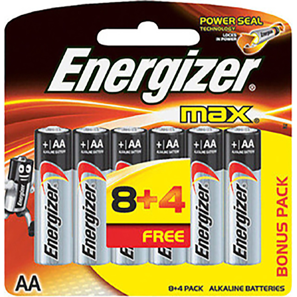 Energizer E91BP12(8+4) Alkaline Max Power Seal Battery AA Size 1.5V (pkt/12pc)