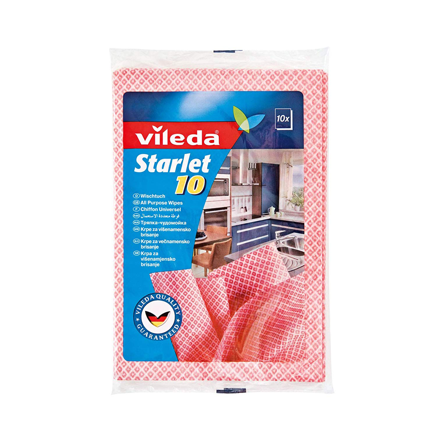 Vileda Starlet All-Purpose Cloth Wipes Semi-disposable Cleaning Cloth VLDW73517 (pkt/10pcs)