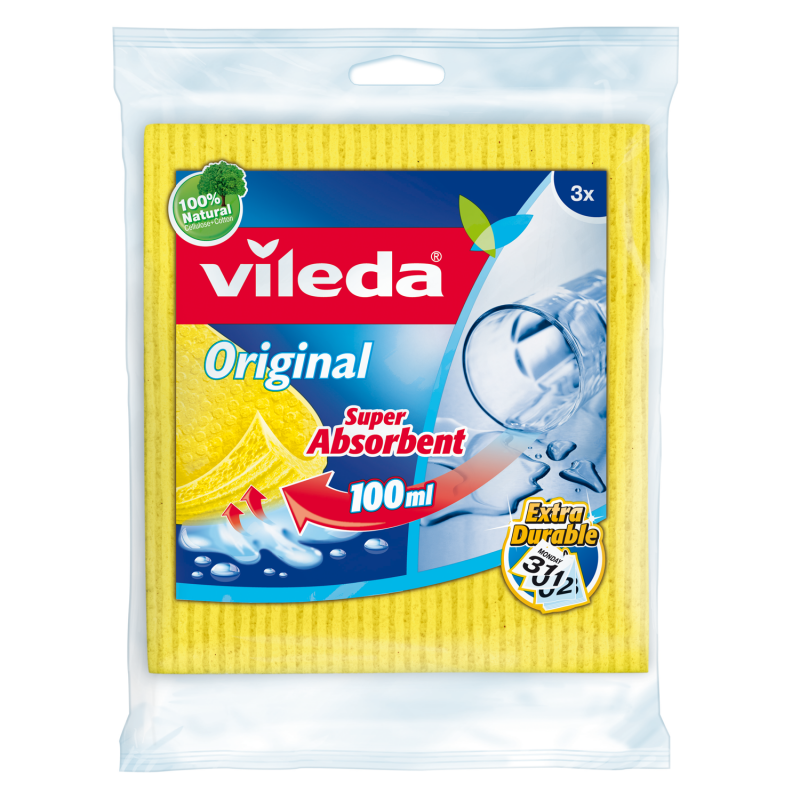 Vileda Sponge Cleaning Cloth VLDW72819 (pkt/3pcs)