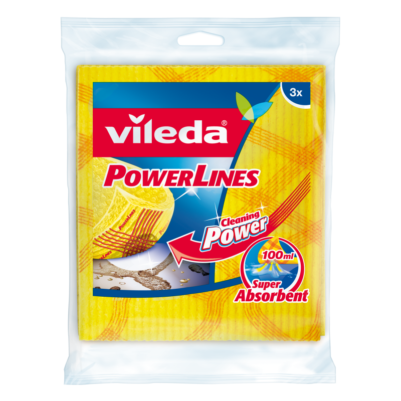 Vileda Abrasive Power Lines Cleaning Sponge Cloth VLDW139301 (pkt/3pcs)