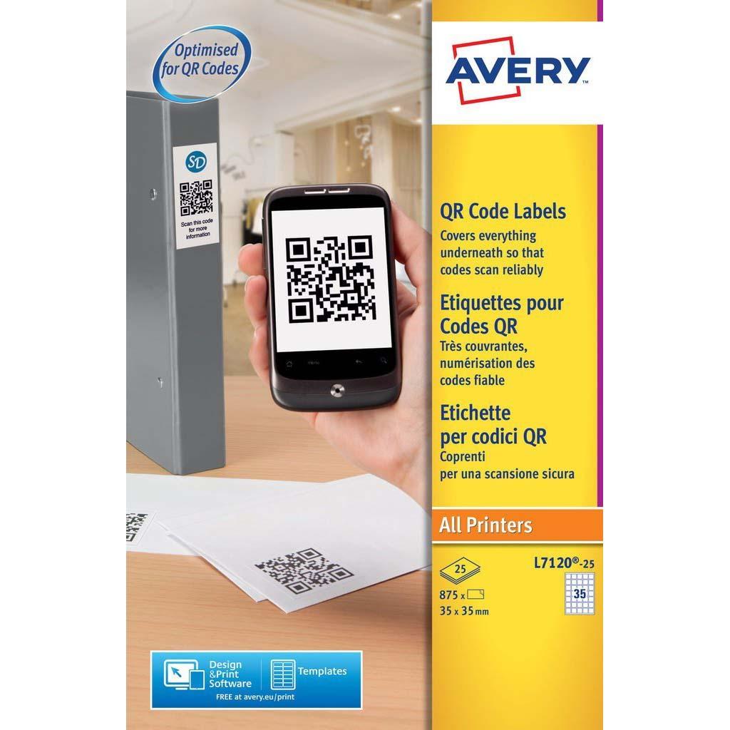 Avery L7120-25 Permanent QR Code Labels 35 x 35mm - White (pkt/25pcs)
