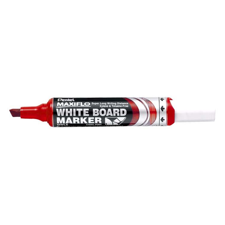 Pentel Maxiflo MWL6 Chisel Tip Whiteboard Marker - Red (pc)
