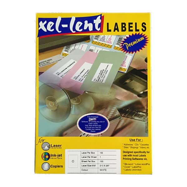 Xel-lent LFL00022 Straight Corner 1 Label/Sheet 210 x 297mm - White (pkt/100cs)