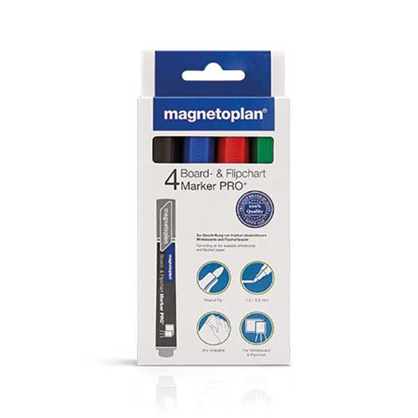 Magnetoplan COP 12281 Board & Flipchart Marker - Assorted (pkt/4pcs)