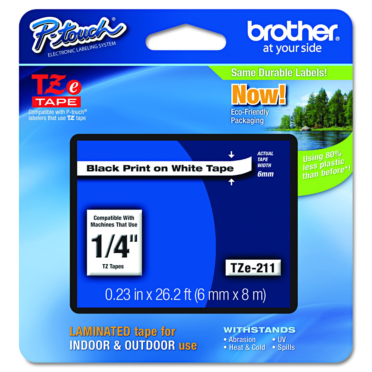 Brother TZe-211 Labelling Tape Casette 6mm - Black on White (pc)
