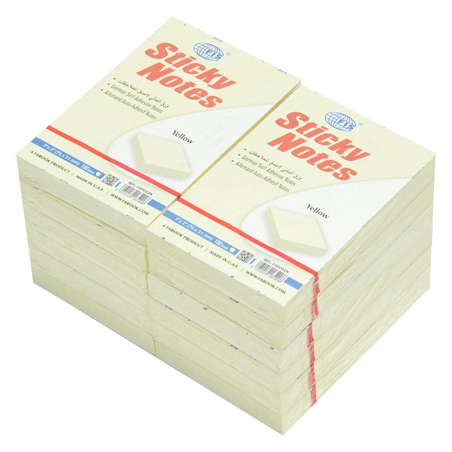FIS Sticky Notes 3 x 2in FSPO32N - Yellow (pkt/12pcs)