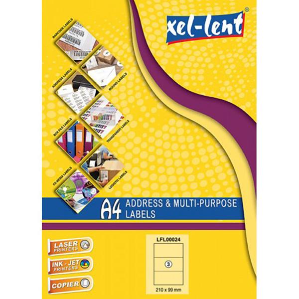 Xel-lent LFL00024 Straight Corner 3 Label/Sheet 210 x 99mm - White (pkt/100pcs)