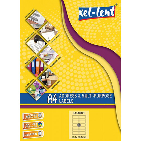 Xel-lent LFL00071 Straight Corner 14 Label/Sheet 99.1 x 38.1mm - White (pkt/100pcs)