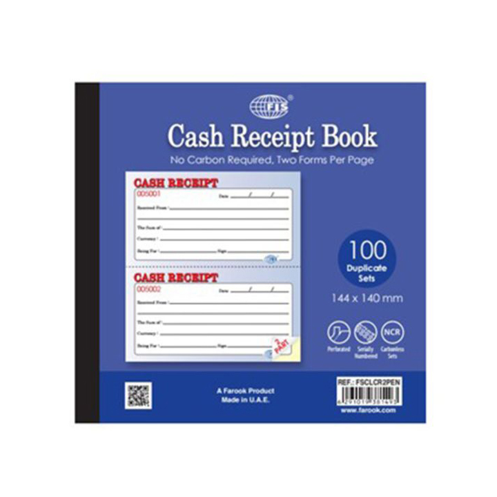 FIS FSCLCR2PEN Cash Receipt Book Carbonless NCR Paper with Numbering English - Size (pc)