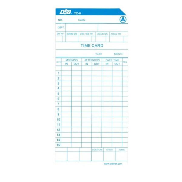 DSB TC-6 Time Card (pkt/100pcs)