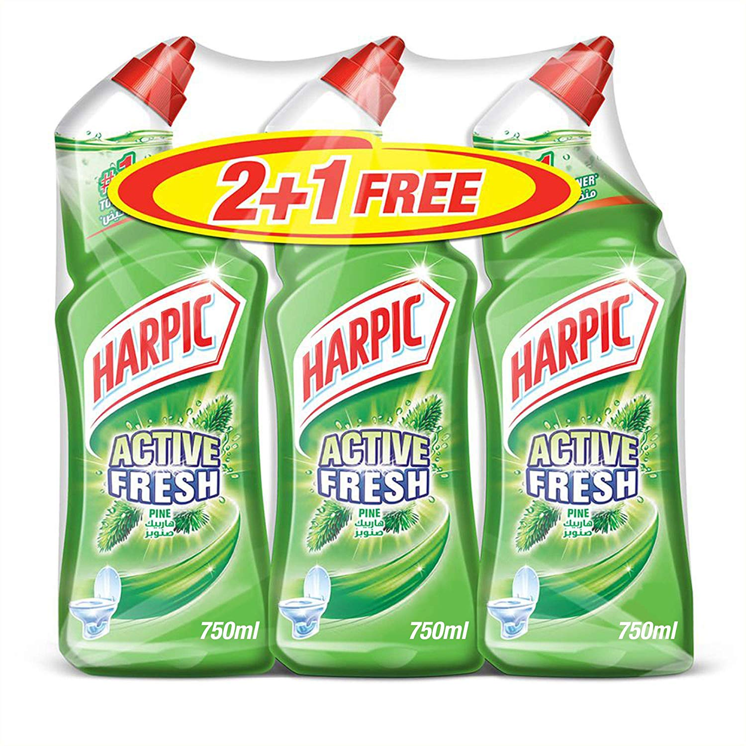 Harpic Active Fresh Toilet Cleaner Pine - 750ml (pkt/3pcs)
