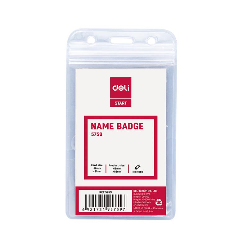 Deli E5759 Waterproof PVC Name Badge Vertical 56 x 91mm - Transparent (pkt/100pcs)