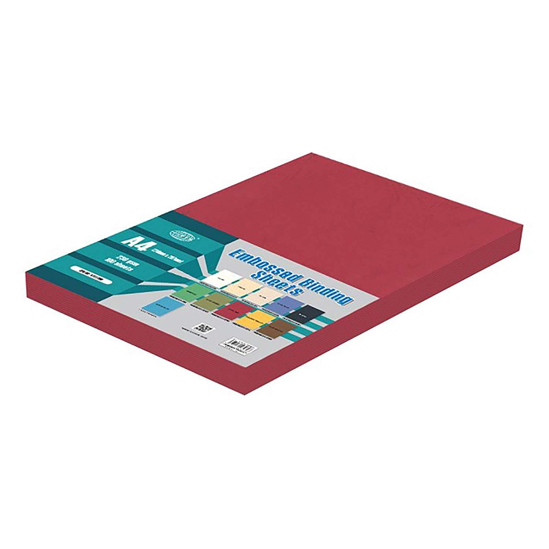 FIS FSBDE230A4DRE Embossed Binding Sheet 230gsm A4 - Dark Red (pkt/100pcs)