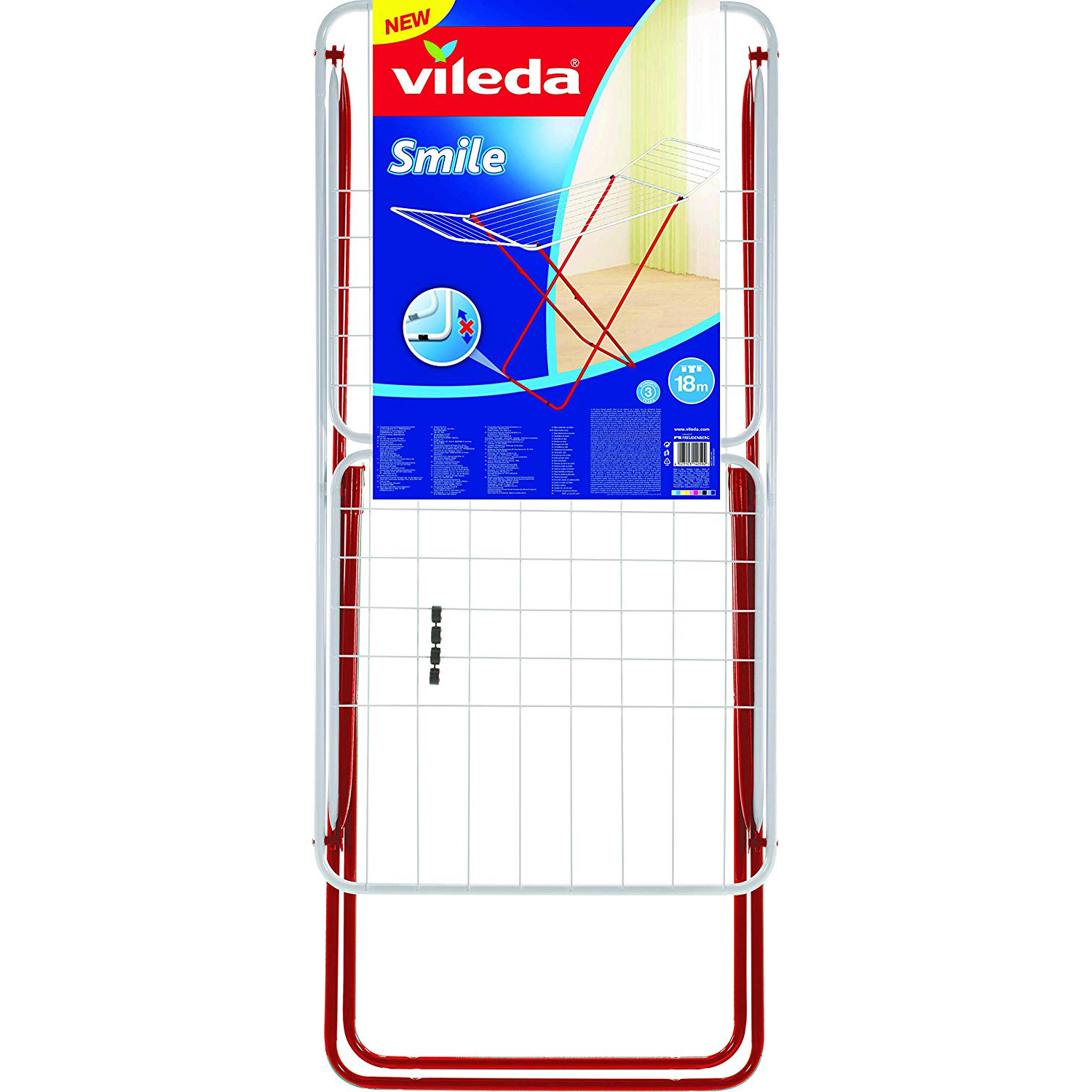 Vileda Smile Steel X-Leg Indoor Cloth Dryer VLID158383 - 18m (pc)