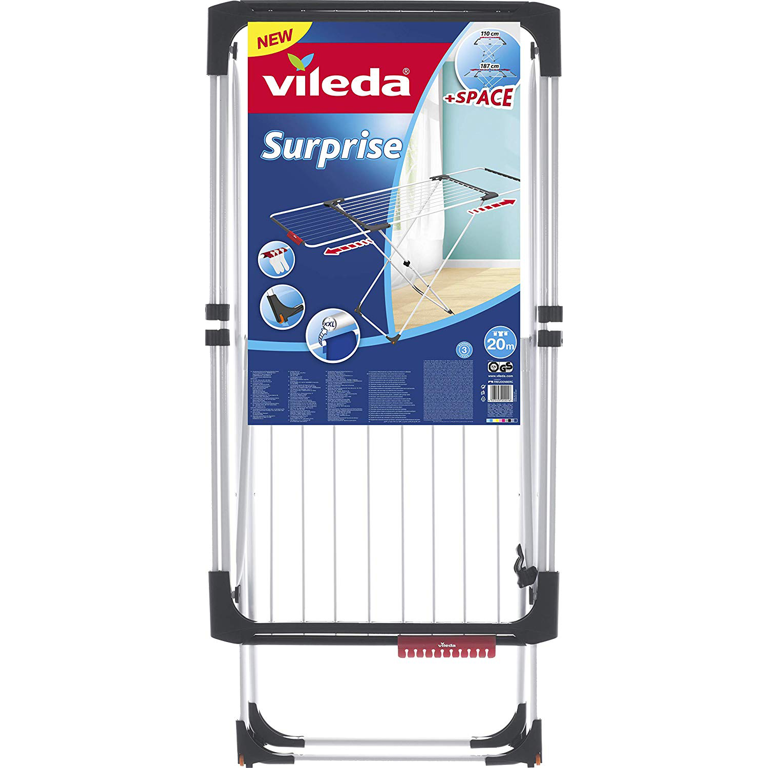 Vileda Surprise Aluminum Extendable X-Leg Indoor Cloth Dryer VLID157236 - 20m (pc)
