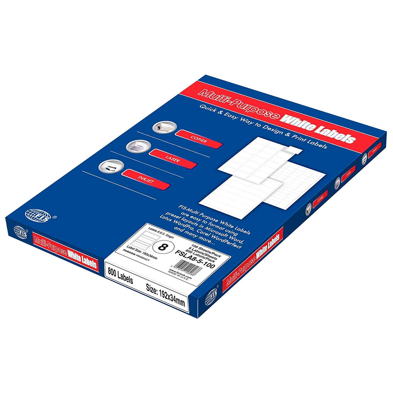 FIS Multipurpose White Labels 8 Labels/Sheet A4 192 x 34mm - FSLA8-5-100 (pkt/100s)