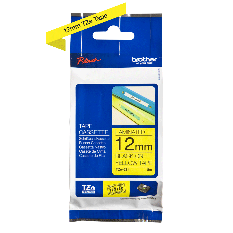 Brother TZe-631 P-Touch Tape 12mm x 8m - Black on Yellow (pc)
