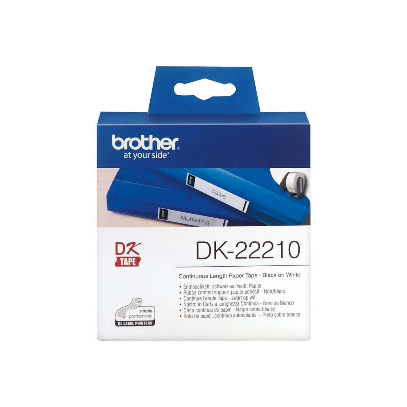 Brother DK-22210 Continuous Paper Label Roll 29mm - Black on White (pc)