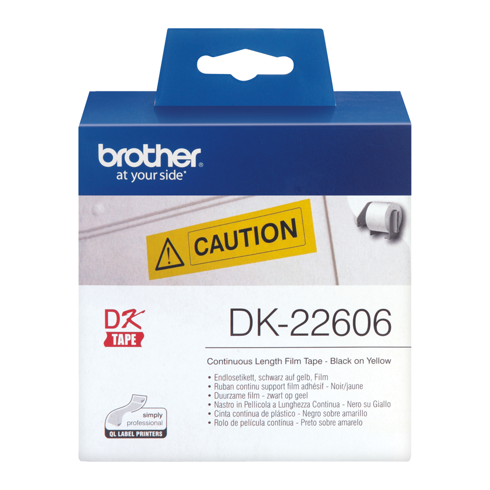 Brother DK-22606 Continuous Film Label Tape 62mm - Black on Yellow (pc)