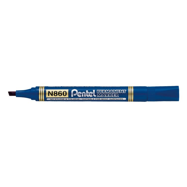 Pentel N860 Permanent Marker Chisel Tip - Blue (pkt/12pcs)