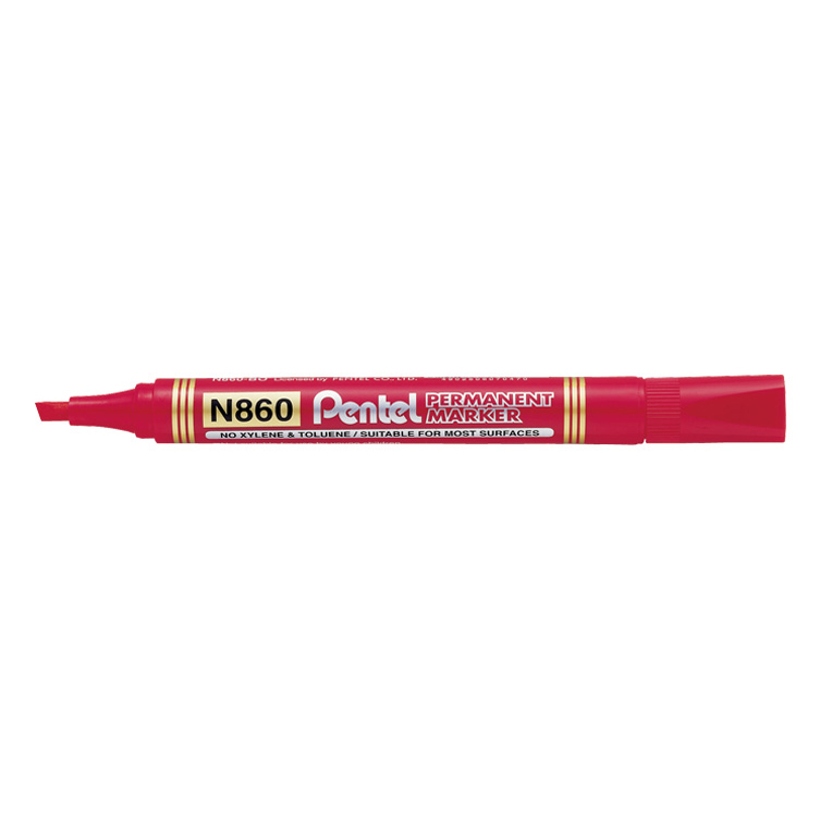 Pentel N860 Permanent Marker Chisel Tip - Red (pkt/12pcs)