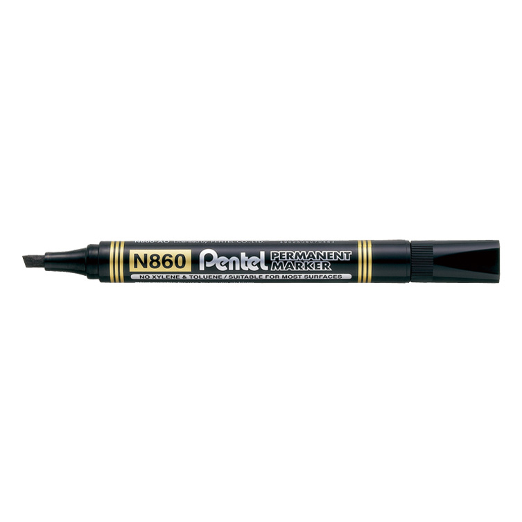Pentel N860 Permanent Marker Chisel Tip - Black (pkt/12pcs)