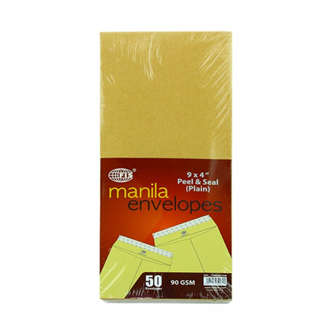 FIS Manila Envelopes Peel & Seal 90gsm 9 x 4in FSME9031P50 - Brown (pkt/50pcs)