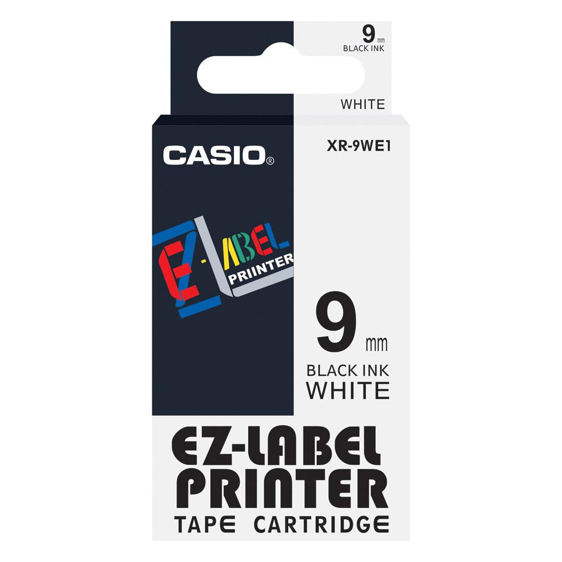 Casio XR-9WE1 EZ Label Printer 9mm x 8m - Black on White (pc)