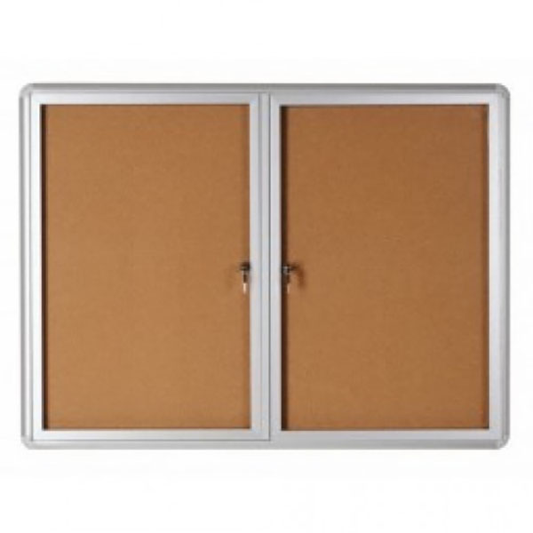 Bi-Office VT640101720 Cork Notice Board with 2 Glass Lockable Cover - 120cm x 90cm (pc)