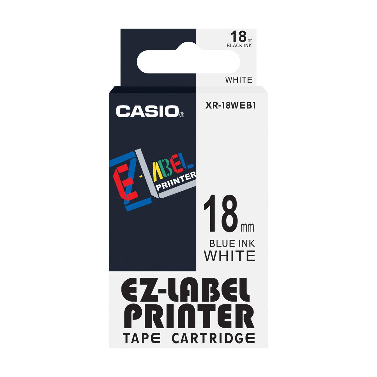 Casio XR-18WEB1 EZ Label Printer Tape 18mm x 8m - Blue on White (pc)