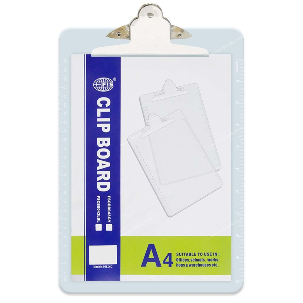 FIS Acrylic Clip Board A4 FSCB8043LBL - Light Blue (pc)