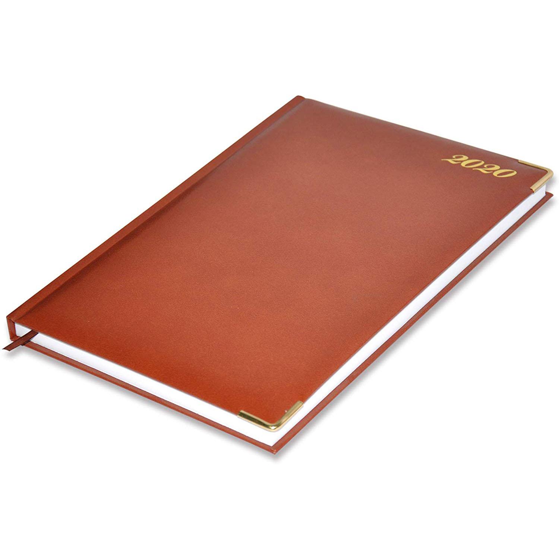 FIS 42E 2020 Vinyl Cover 1D/Page English A4 Diary FSDI42E20BR - Brown (pc)
