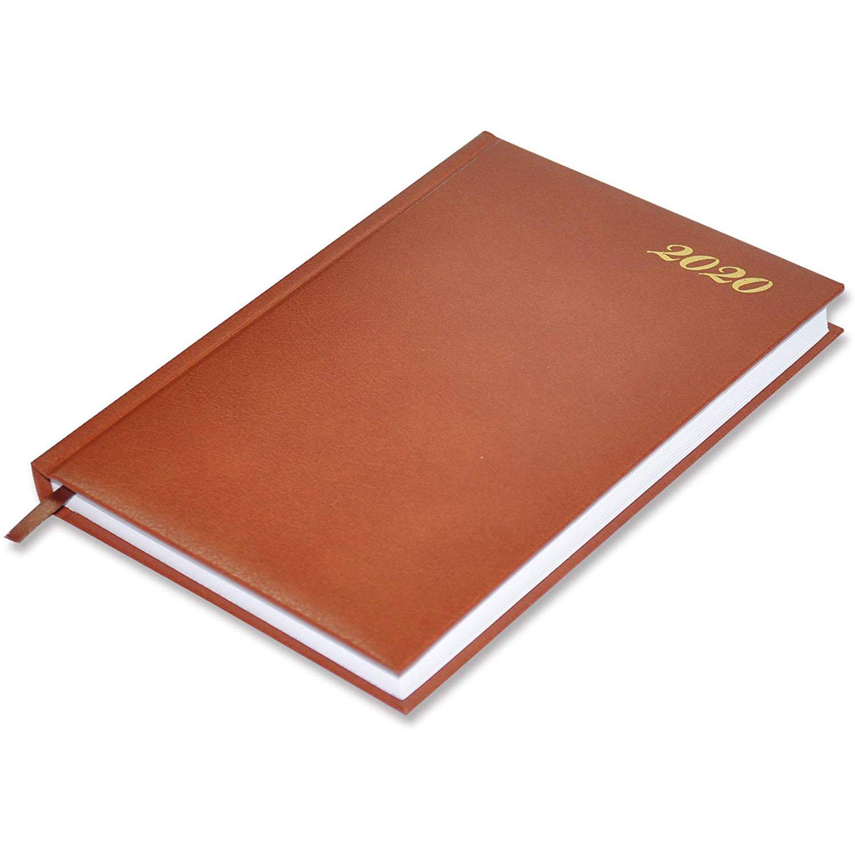 FIS 18E 2020 Vinyl Cover 1D/Page English A5 Diary FSDI18E20BR - Brown (pc)