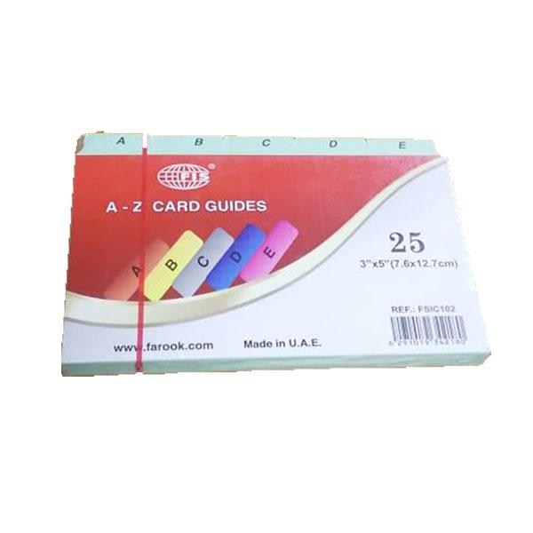 FIS A-Z Card Guide 3in x 5in - FSIC102 (pkt/25pcs)