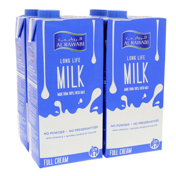 Al Rawabi Full Cream Long Life Milk - 4x1 ltr