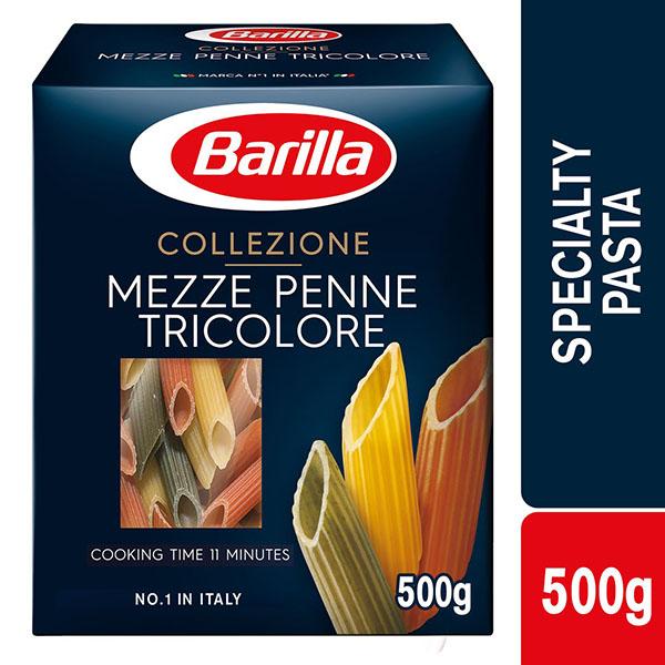 Barilla Mezze Penne Tricolor Pasta - 500gm