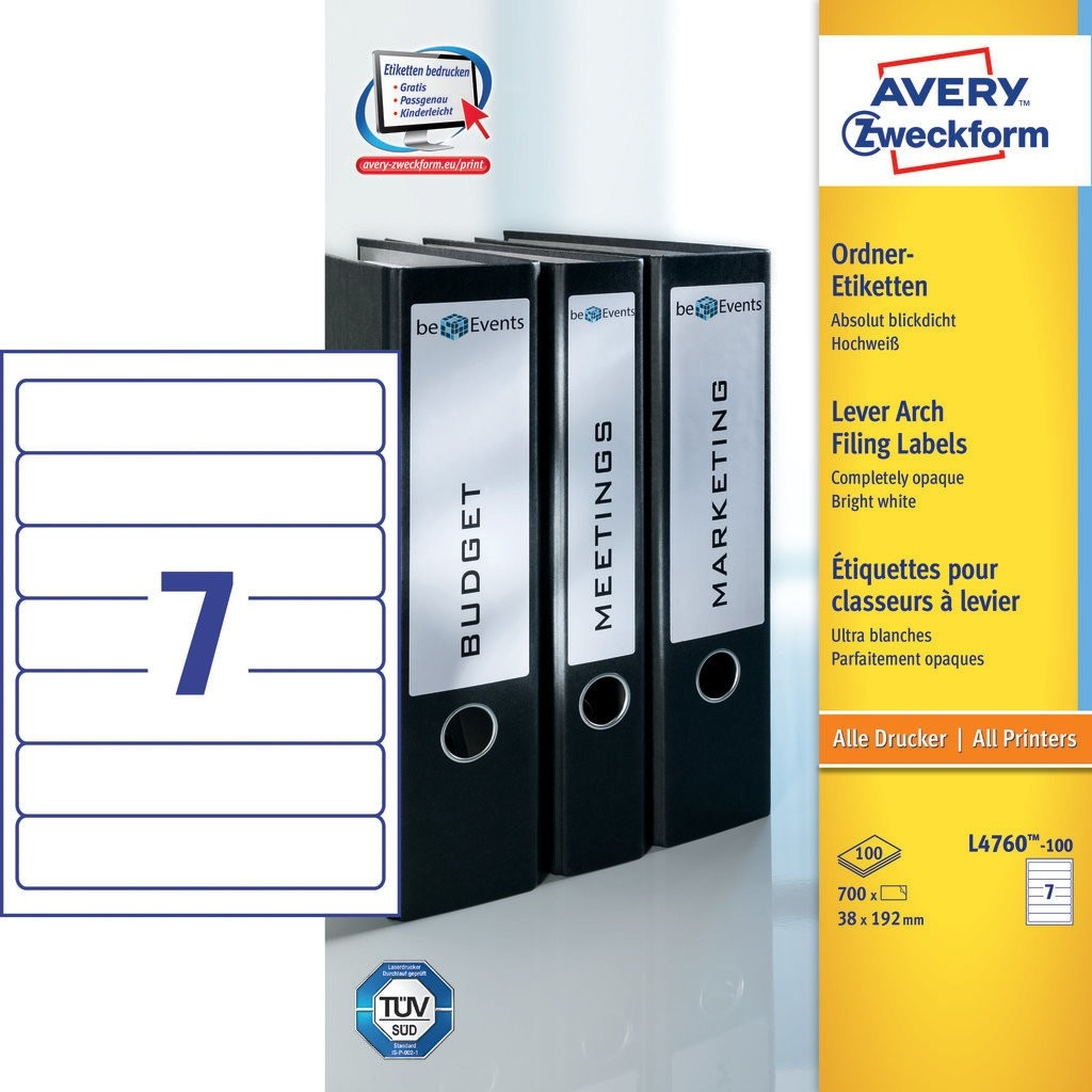 Avery L4760-100 Lever Arch Filing Labels 38 x 192mm - White (pkt/700labels)