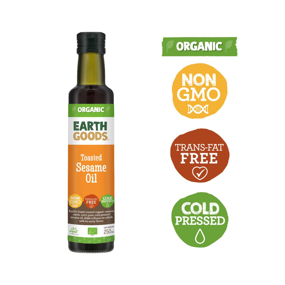 Earth Goods Organic Toasted Sesame Oil - 250ml