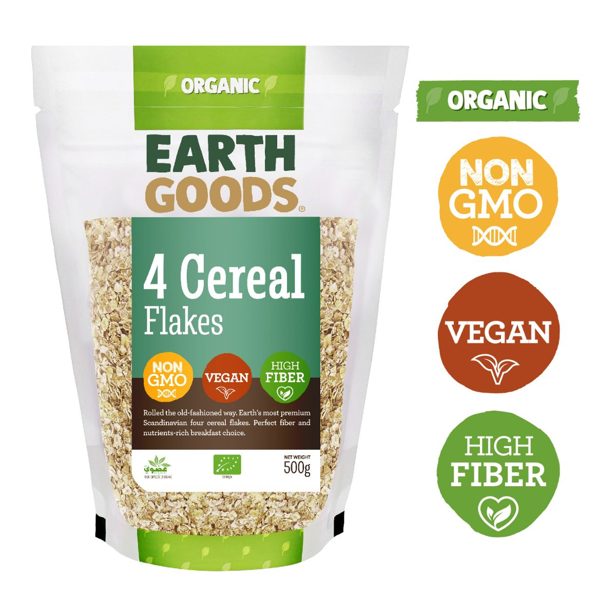 Earth Goods Organic 4 Cereal Flakes - 500g