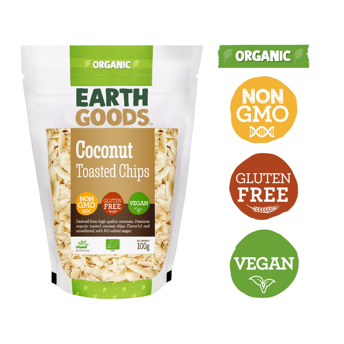 Earth Goods Organic Coconut Toasted Chips - 100g