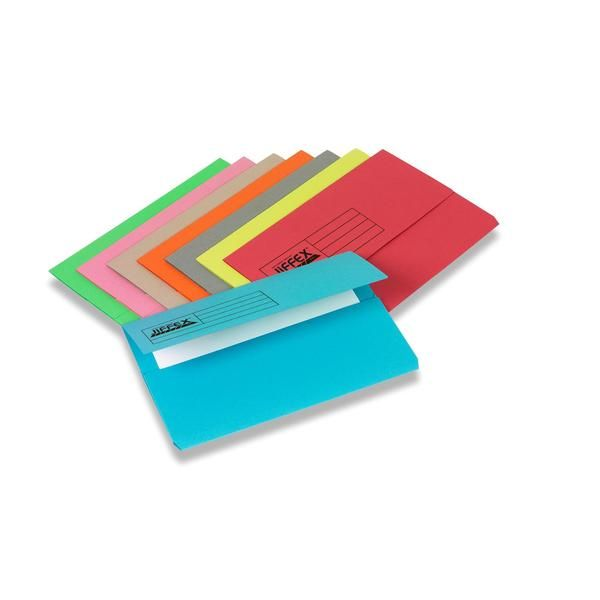 Rexel 45114 Jiffex Document Wallet FS - Green (pkt/50pcs)