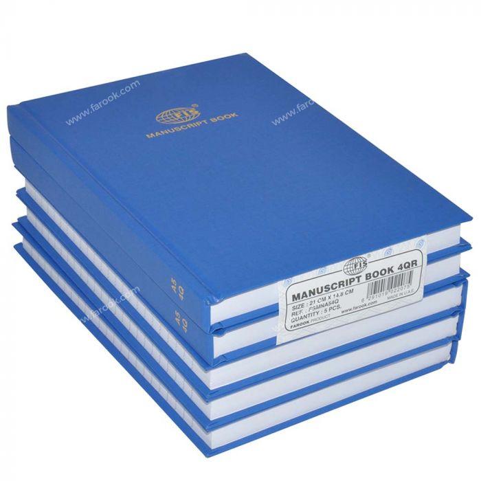 FIS Manuscript Book 8mm Single Ruled 192 sheets A5 148 x 210mm FSMNA54Q - Blue (pkt/5pcs)