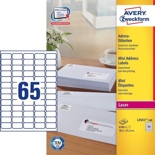 Avery L7651-100 Mini Laser Labels 38x21mm , White (Pkt/6500 Labels)