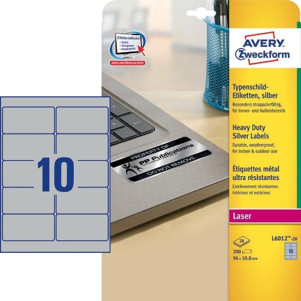 Avery L6012-20 Silver Heavy Duty Weatherproof Labels, 96 x 50.8 mm (Pkt/200 labels)