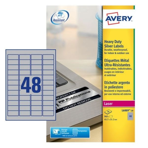 Avery L6009-20 Silver Heavyduty Labels 45.7 x 21.1 mm For B/W Laser printer (Pkt/960 Labels)