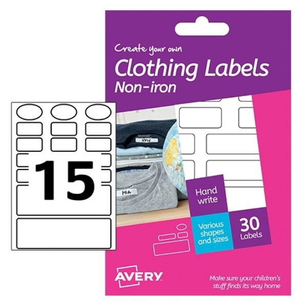 Avery HNI01 Non- Iron Clothing Labels, Assorted Shapes Hand Writable (Pkt/20 Labels)