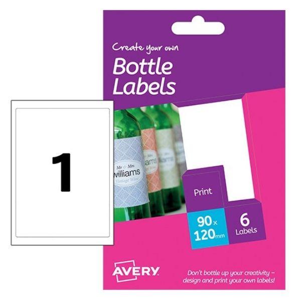 Avery HBL01 Bottle Labels 90 x 120 mm For Inkjet Printer (Pkt/6 Labels)