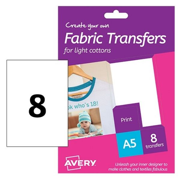 Avery HTT01 Fabric Transfer Labels for Light Cotton 148 x 210 mm (Pkt/8 Labels)