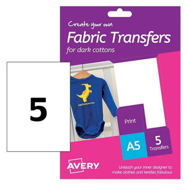 Avery HTT02 Fabric Transfer Labels for Dark Cotton 148 x 210 mm (Pkt/5 Labels)